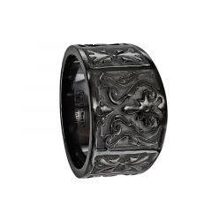 CICERO Black Titanium Ring with Casted Design by Edward Mirell - 14 mm