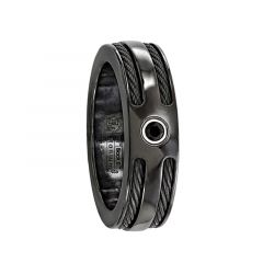 CASPIAN Black Titanium Ring with Black Cables and Black Diamond by Edward Mirell - 7 mm