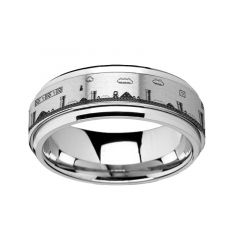 Spinning Engraved Super Mario Bros Pixel Level Game Tungsten Carbide Spinner Wedding Band - 8mm