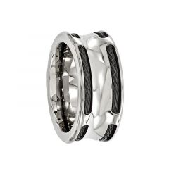 CAJETANUS Black Titanium Ring with Steel Cables by Edward Mirell - 10 mm