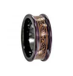 AMICA Black Titanium Concave Ring with Anodized Copper Color Pattern by Edward Mirell - 8 mm
