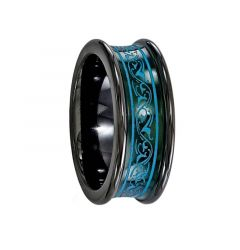 AELIA Concave Black Titanium Ring with Anodized Teal Pattern by Edward Mirell - 8mm