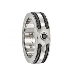 CAECILIUS Titanium Ring with Black Cables & Black Diamond by Edward Mirell - 7 mm
