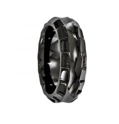 BRUTUS Black Titanium Ring with Faceted Edges by Edward Mirell - 8 mm