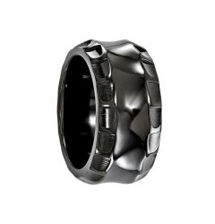 BONIFATIUS Black Ring Titanium Ring with Faceted Edges by Edward Mirell - 12 mm