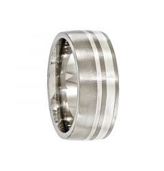 BEATUS Brushed Titanium Ring with Silver Inlays by Edward Mirell - 9 mm