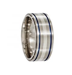 BASILIUS Titanium Ring with Silver Inlay & Blue Anodized Grooves by Edward Mirell - 10 mm