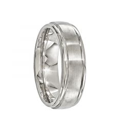 BALBUS Brushed Titanium Ring with Grooves by Edward Mirell - 7 mm