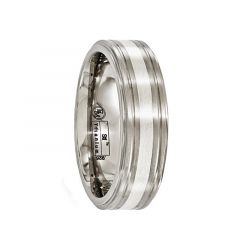 BACCHUS Brushed Titanium Ring with Sterling Silver Inlay by Edward Mirell - 7 mm