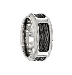 ASCANIUS Titanium Ring with Steel Cable Band by Edward Mirell - 10.75 mm