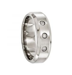 AESCULAPIUS Beveled Titanium Ring with Brushed center and .09 ct Diamonds by Edward Mirell - 7 mm