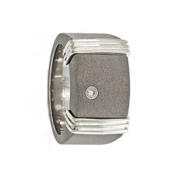 AEGIDIUS Titanium Ring & Sterling Silver .06 ct Diamond Signet Ring by Edward Mirell - 12 mm