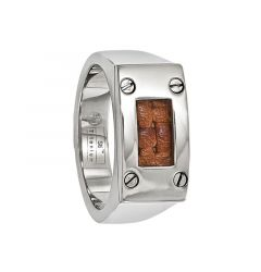 ACESTES Polished Titanium Ring with Brown Leather Insert by Edward Mirell - 10mm