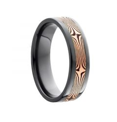 AITO Flat Black Titanium Ring with Orange Tiger Inlay by Lashbrook Designs - 6mm