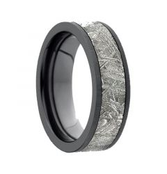 BISHAMON Flat Black Titanium Meteorite Inlay Ring by Lashbrook Designs - 7mm