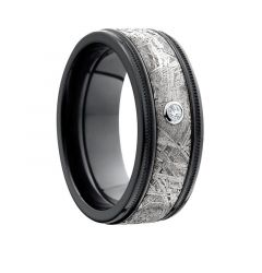 DAICHI Flat Black Zirconium Meteorite Inlay Diamond Ring by Lashbrook Designs - 8.5mm