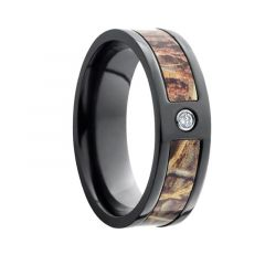 FUMITO Black Zirconium Diamond Ring Camo Inlay by Lashbrook Designs - 7mm