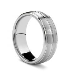 LUBBOCK Domed Triple Grooved Tungsten Carbide Ring by Benchmark - 8 mm