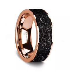 Flat Polished 14K Rose Gold Wedding Ring with Lava Rock Inlay - 8 mm