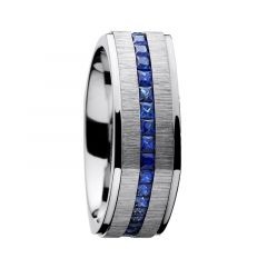 HAMA Brushed Cobalt Chrome Flat Sapphire Inlay Band by Lashbrook Designs - 8mm