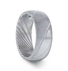 THEON Domed Brushed Damascus Steel Men's Wedding Band with A Vivid Etched Design- 6mm & 8mm