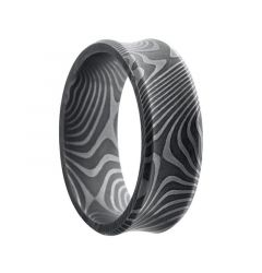 HIRO Black Concave Beveled Edge Damascus Steel Ring by Lashbrook Designs - 8mm