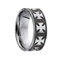 IRUKA Damascus Steel Maltese Cross Patterened Black Steel Ring by Lashbrook Designs - 8mm