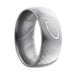 IZO Damascus Steel Pattern Polished Stainless Steel Ring by Lashbrook Designs - 10mm
