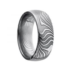 JIN Black Damascus Steel Pattern Polished Stainless Steel Ring by Lashbrook Designs - 8mm