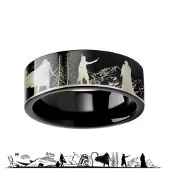 Star Wars Force Awakens Scene Jakku Luke Skywalker Rey Kylo Ren Scene Tungsten Engraved Ring - 4mm - 12mm