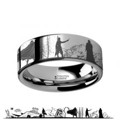 Star Wars Force Awakens Scene Jakku Luke Skywalker Rey Kylo Ren Scene Black Tungsten Engraved Ring - 4mm - 12mm