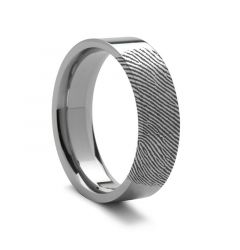 Fingerprint Ring Palladium 950 Flat Engraved Band - 2mm - 12mm