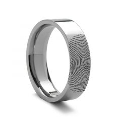 10k Fingerprint Ring White Gold Engraved Flat Band- 4mm - 8mm