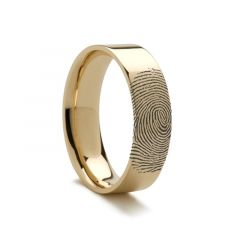 10k Fingerprint Ring Yellow Gold Engraved Flat Band - 4mm - 8mm