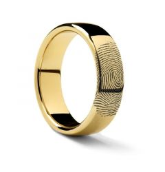 10k Fingerprint Ring Yellow Gold Engraved Domed Band - 4mm - 8mm