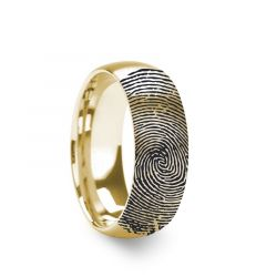 10k Fingerprint Ring Yellow Gold Engraved Domed Brushed Band - 4mm - 8mm