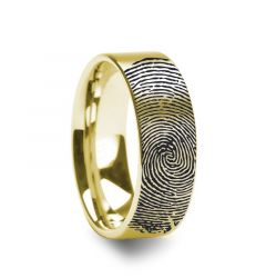 10k Fingerprint Ring Yellow Gold Engraved Flat Brushed Band - 4mm - 8mm