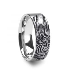14k Fingerprint Ring White Gold Engraved Flat Brushed Band - 4mm - 8mm