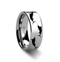 Marlin Fish Sea Print Pattern Ring Engraved Flat Tungsten Ring - 4mm - 12mm