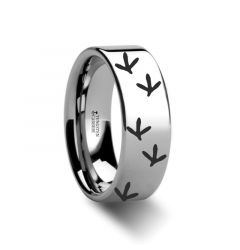 Quail Bird Track Print Ring Engraved Flat Tungsten Ring - 4mm - 12mm