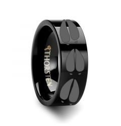Animal Deer Track Mule Print Ring Engraved Flat Black Tungsten Ring - 4mm - 12mm