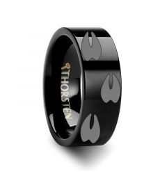 Animal Track Deer Print Ring Engraved Flat Black Tungsten Ring - 4mm - 12mm