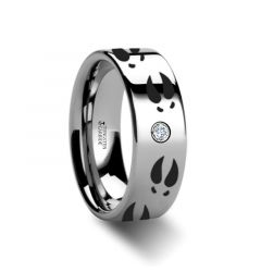 Deer Print Animal Track Ring Engraved Flat Tungsten Diamond Ring - 6mm - 8mm