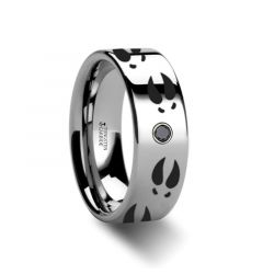Deer Print Animal Track Ring Engraved Flat Tungsten Black Diamond Ring - 6mm - 8mm