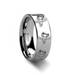 Reverse Annie Dark Child Polished Tungsten Engraved Ring League of Legends Jewelry - 4mm - 12mm