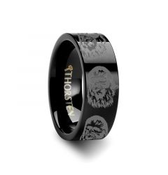 Chewbacca Star Wars Black Tungsten Engraved Ring - 4mm - 12mm