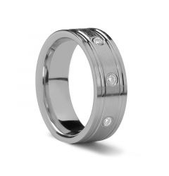 Flat Dual Grooved Palladium Ring with Diamonds by Benchmark - 8 mm