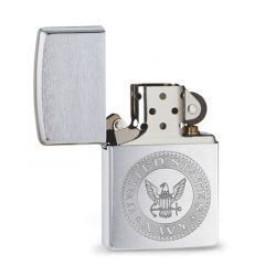 Zippo Lighter U.S. Navy Chrome Brushed Classic Engravable Grooms Gift USA