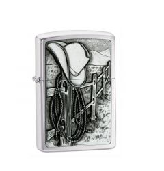 Zippo Lighter Resting Cowboy Hat Classic Engravable Grooms Gift USA