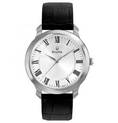 Mens Classic Watch Thin Series Silver Face Black Leather by Bulova